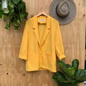 Vintage Yellow Oversized Linen Blazer Jacket